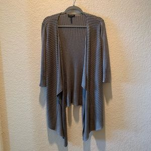 Eileen Fisher grey draped open front cardigan, S